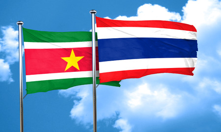 thailand culture: Suriname flag with Thailand flag, 3D rendering Stock Photo