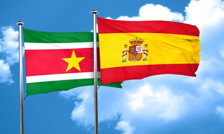 suriname: Suriname flag with Spain flag, 3D rendering