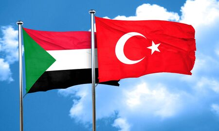 3d turkey: Sudan flag with Turkey flag, 3D rendering Stock Photo