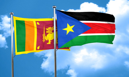sri: Sri lanka flag with South Sudan flag, 3D rendering Stock Photo