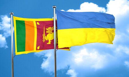 ukraine flag: Sri lanka flag with Ukraine flag, 3D rendering