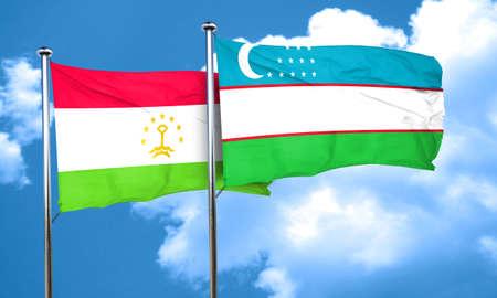 tajikistan: Tajikistan flag with Uzbekistan flag, 3D rendering