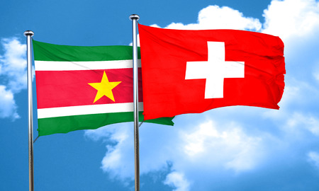 suriname: Suriname flag with Switzerland flag, 3D rendering