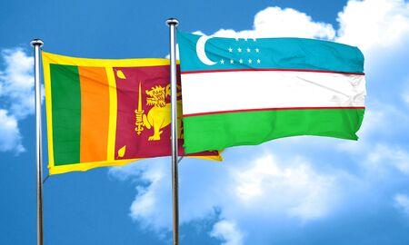 sri: Sri lanka flag with Uzbekistan flag, 3D rendering