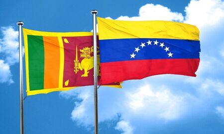 venezuela flag: bandera de Sri Lanka con la bandera de Venezuela, 3D