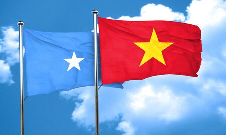 somalian culture: Somalia flag with Vietnam flag, 3D rendering Stock Photo