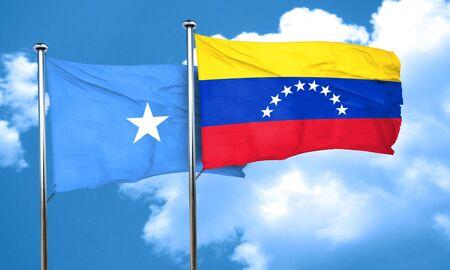 somalia: Somalia flag with Venezuela flag, 3D rendering Stock Photo