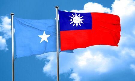 somalia: Somalia flag with Taiwan flag, 3D rendering