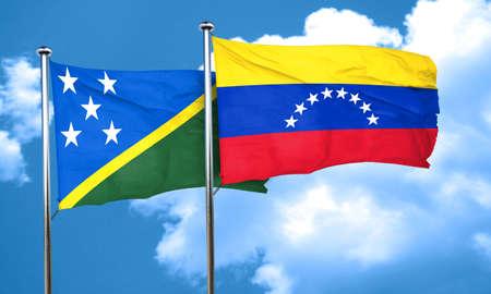 bandera de venezuela: Solomon islands flag with Venezuela flag, 3D rendering