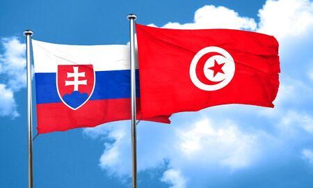 slovakia flag: Slovakia flag with Tunisia flag, 3D rendering