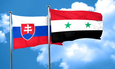 slovakia flag: Slovakia flag with Syria flag, 3D rendering Stock Photo