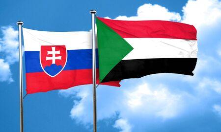 slovakia flag: Slovakia flag with Sudan flag, 3D rendering