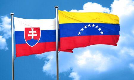 slovakia flag: Slovakia flag with Venezuela flag, 3D rendering Stock Photo