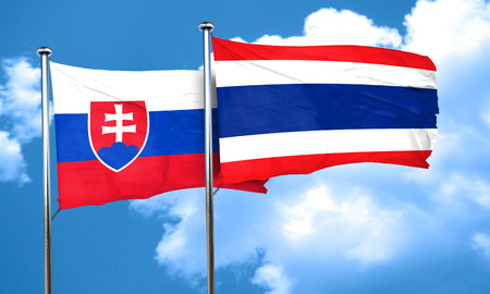 thailand culture: Slovakia flag with Thailand flag, 3D rendering