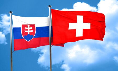 switzerland flag: Slovakia flag with Switzerland flag, 3D rendering