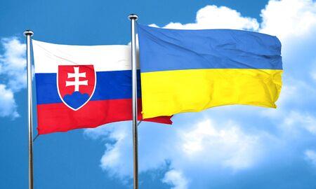 ukraine flag: Slovakia flag with Ukraine flag, 3D rendering