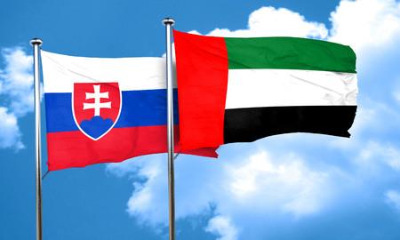 slovakia flag: Slovakia flag with UAE flag, 3D rendering