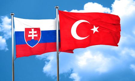 slovakia flag: Slovakia flag with Turkey flag, 3D rendering