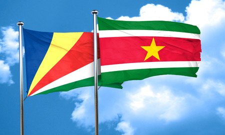 seychelles: seychelles flag with Suriname flag, 3D rendering Stock Photo