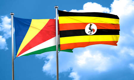ugandan: seychelles flag with Uganda flag, 3D rendering Stock Photo