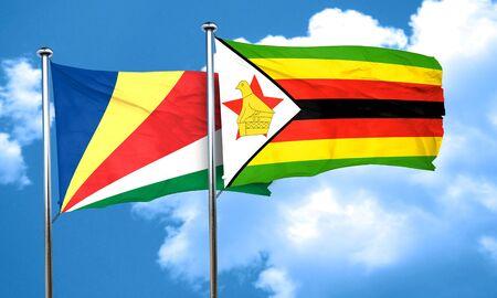 seychelles: seychelles flag with Zimbabwe flag, 3D rendering