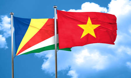 seychelles: seychelles flag with Vietnam flag, 3D rendering