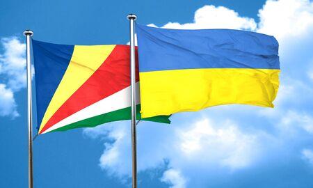 seychelles: seychelles flag with Ukraine flag, 3D rendering