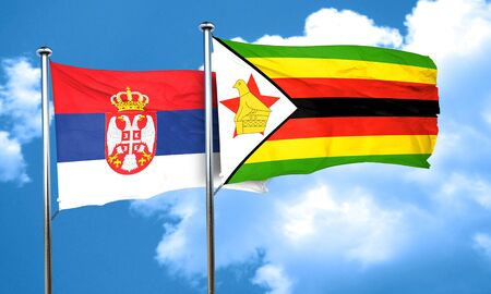 serbia flag: Serbia flag with Zimbabwe flag, 3D rendering