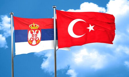 3d turkey: Serbia flag with Turkey flag, 3D rendering Stock Photo