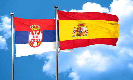 serbia flag: Serbia flag with Spain flag, 3D rendering