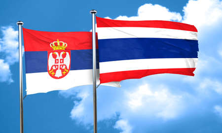 serbia flag: Serbia flag with Thailand flag, 3D rendering