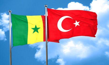 3d turkey: Senegal flag with Turkey flag, 3D rendering