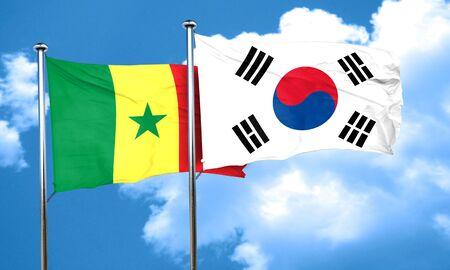korea flag: Senegal flag with South Korea flag, 3D rendering