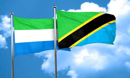 sierra: Sierra Leone flag with Tanzania flag, 3D rendering