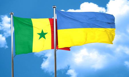 ukraine flag: Senegal flag with Ukraine flag, 3D rendering