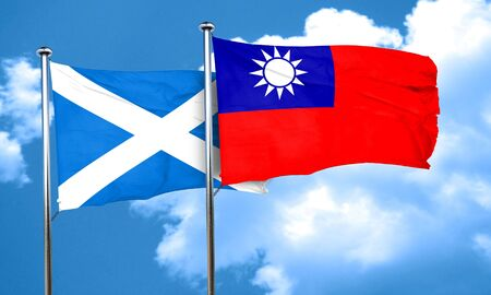 taiwanese: scotland flag with Taiwan flag, 3D rendering Stock Photo