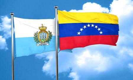 venezuela flag: san marino flag with Venezuela flag, 3D rendering Stock Photo