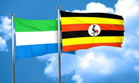 leone: Sierra Leone flag with Uganda flag, 3D rendering