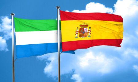 sierra: Sierra Leone flag with Spain flag, 3D rendering
