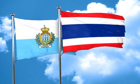 thailand culture: san marino flag with Thailand flag, 3D rendering