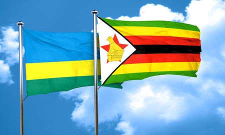 rwanda: Rwanda flag with Zimbabwe flag, 3D rendering
