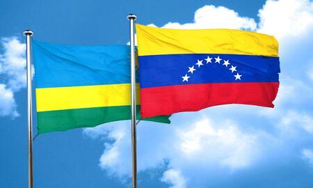 bandera de venezuela: bandera de Ruanda con la bandera de Venezuela, 3D