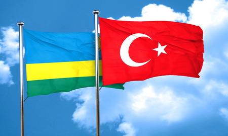 rwanda: Rwanda flag with Turkey flag, 3D rendering
