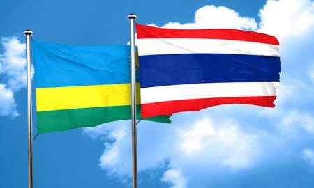 rwanda: Rwanda flag with Thailand flag, 3D rendering Stock Photo