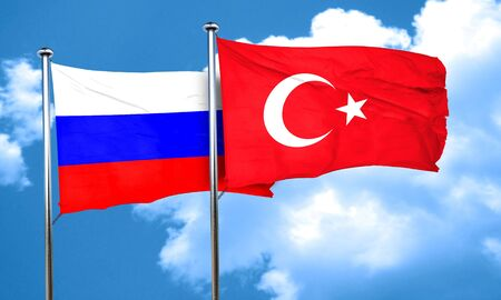 russia flag: Russia flag with Turkey flag, 3D rendering