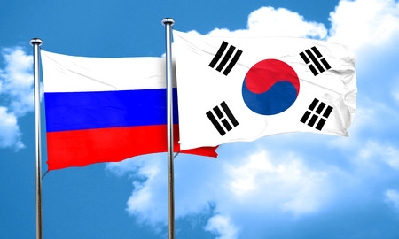 russia flag: Russia flag with South Korea flag, 3D rendering