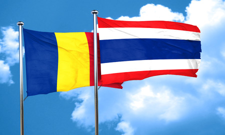 romania flag: Romania flag with Thailand flag, 3D rendering Stock Photo