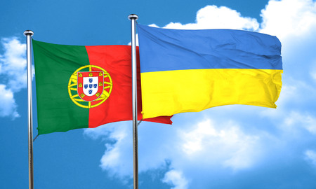 portugese: Portugal flag with Ukraine flag, 3D rendering