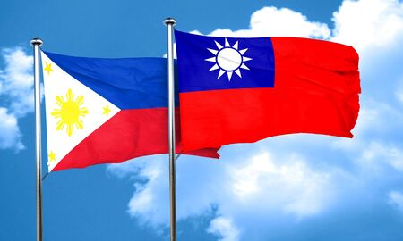 taiwanese: Philippines flag with Taiwan flag, 3D rendering Stock Photo