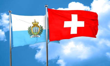 marino: san marino flag with Switzerland flag, 3D rendering